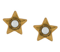 flat pearl star stud earrings