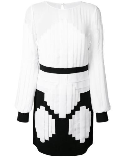 contrast long-sleeve mini dress