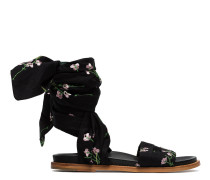 Black floral embroidered wrap sandals