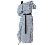 asymmetric ruffle trim striped dress