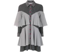 patchwork ruffled shirt dress
