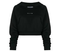 Cropped-Sweatshirtjacke mit Kapuze