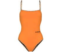 Vintage check trim swimsuit