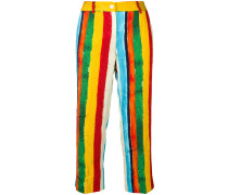 painted stripe print trousers