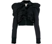 Geraffte Jacke mit spitzen Schultern