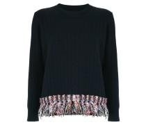 Pullover mit Tweed-Fransen