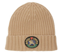 Embroidered Crest Rib Knit Wool Cashmere Beanie