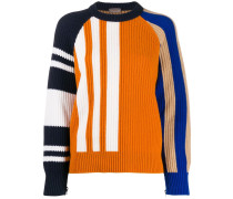 colour-block ribbed jumper