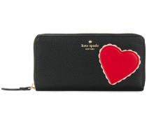 heart patch zip around continental wallet