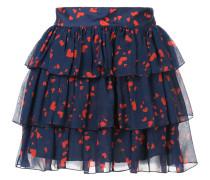 heart print tiered mini skirt