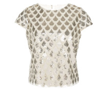 scale sequin-embellished top