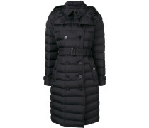 double-breasted belted puffer coat