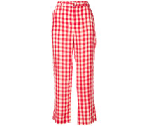 gingham straight-leg trousers
