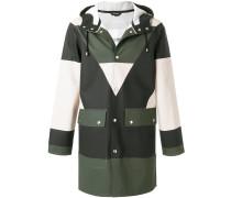 colour block buttoned coat