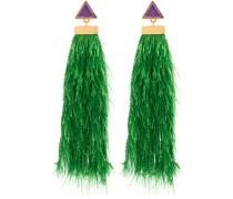 green rain drop silver earrings