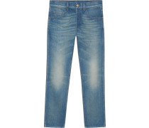 Denim tapered pant with tiger
