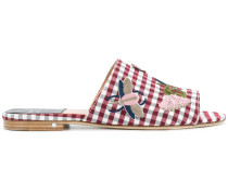 embroidered gingham sandals