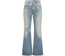 Flared jeans with rip detail