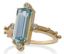 18kt Goldring mit Aquamarin und Diamanten