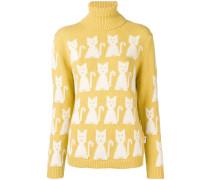 Intarsien-Pullover mit Katzen
