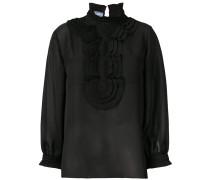 pleated insert sheer blouse