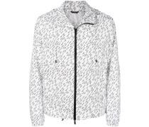 linear print lightweight jacket