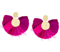 round fabric earrings