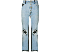 leather panelled dropped jeans
