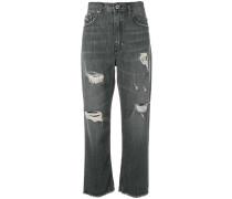 Boyfriend-Jeans in Distressed-Optik