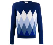 Intarsien-Pullover mit Rautenmuster