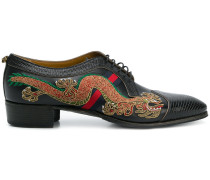 dragon-embroidered lace-up shoes