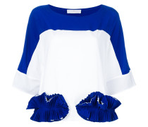 ruffle-appliquéd colour-block T-shirt