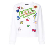 Bunt bedrucktes Sweatshirt mit Patches
