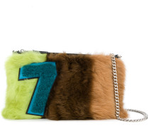 Shearling-Clutch in Colour-Block-Optik