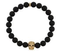 Onyx-Armband mit vergoldetem Totenkopf
