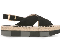 Flatform-Sandalen mit Slingback-Riemen