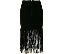 fitted skirt with long fringe
