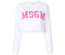 Cropped-Sweatshirt mit aufgesticktem Logo