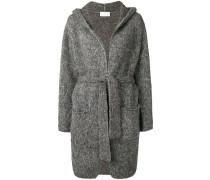 tie waist hooded cardi-coat