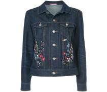 floral-embroidered denim jacket