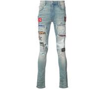 Skinny-Jeans mit Patchwork-Design