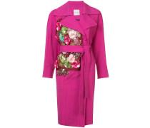 floral appliqué belted coat