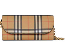 Vintage Check and Leather Wallet with Chain