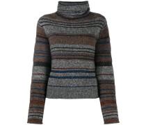 turtle neck striped knit sweater