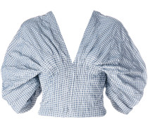 Smocked Gingham Dropped Sleeve Bustier top
