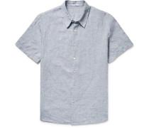 Slim-fit Slub Linen Shirt - Gray