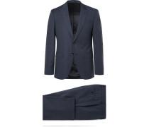 Navy Helwerd Genius Slim-fit Checked Wool Three-piece Suit - Navy