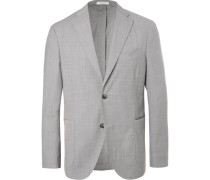 Light-grey Unstructured Mélange Virgin Wool Suit Jacket