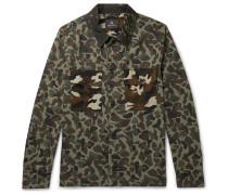 Camouflage-print Cotton Shirt Jacket - Green