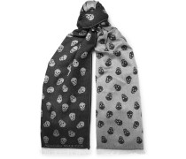 Reversible Printed Wool And Silk-blend Scarf - Gray